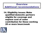 overview additional recommendations8