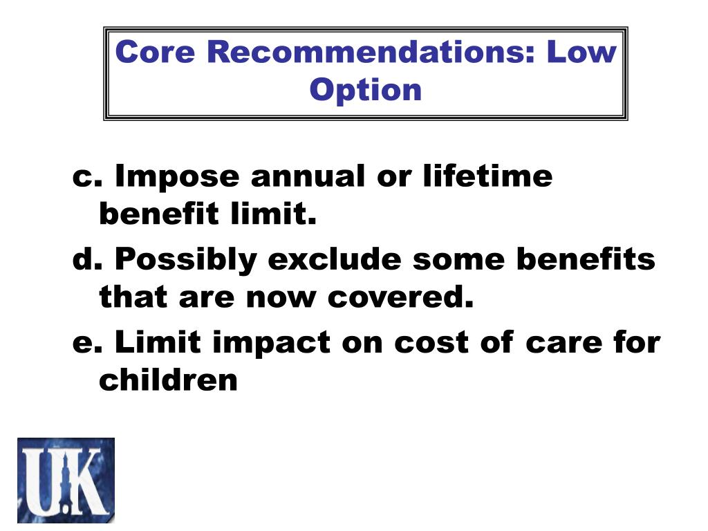 Core Recommendations: Low Option