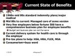 current state of benefits