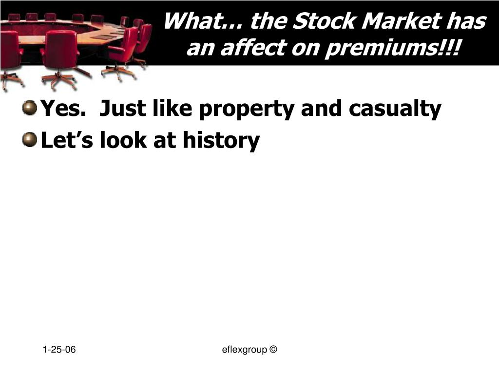 What… the Stock Market has an affect on premiums!!!