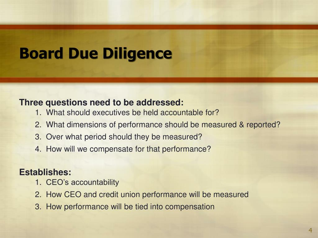 Board Due Diligence