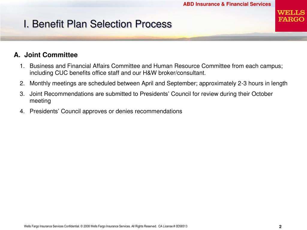 I. Benefit Plan Selection Process
