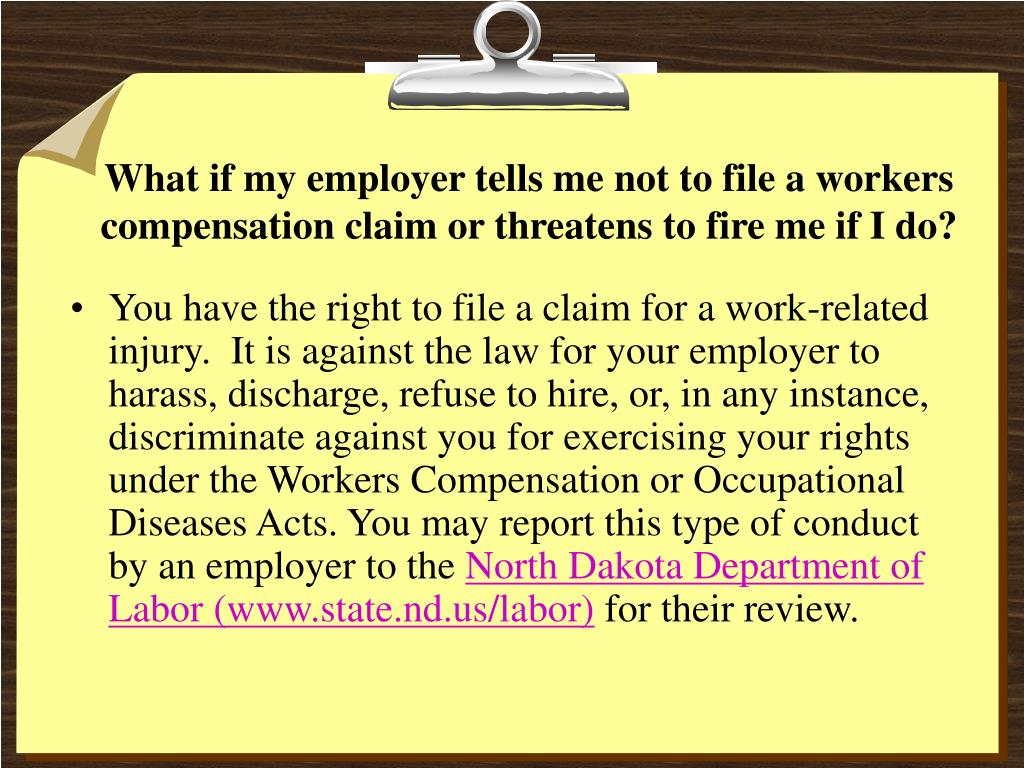 What if my employer tells me not to file a workers compensation claim or threatens to fire me if I do?