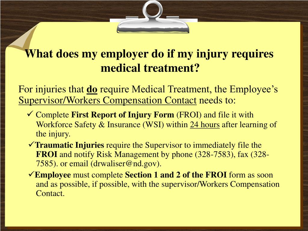 What does my employer do if my injury requires