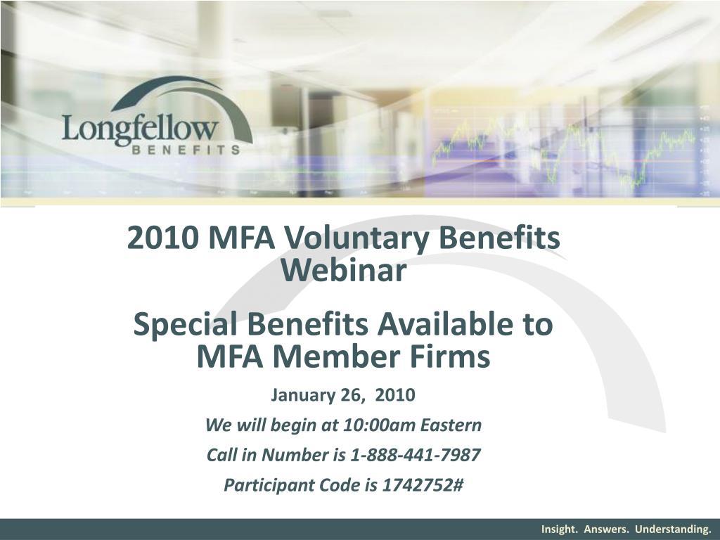 2010 MFA Voluntary Benefits Webinar