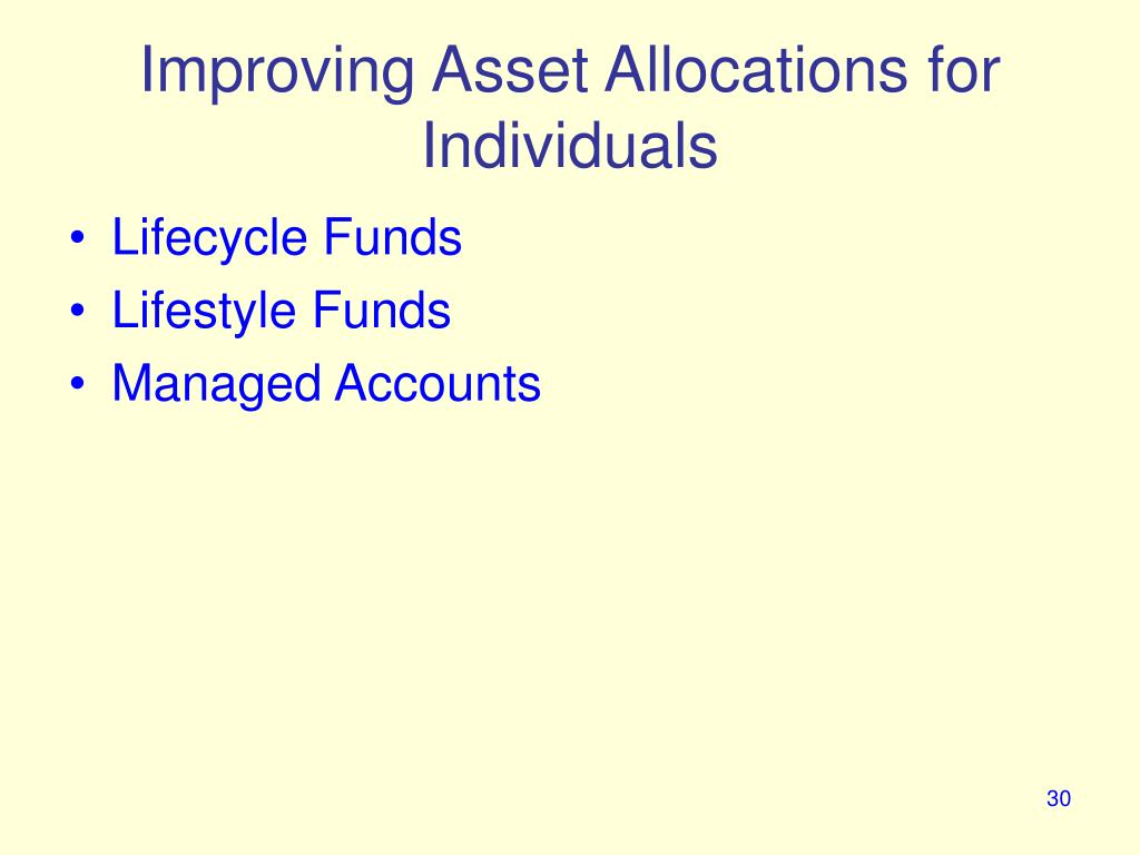 Improving Asset Allocations for Individuals