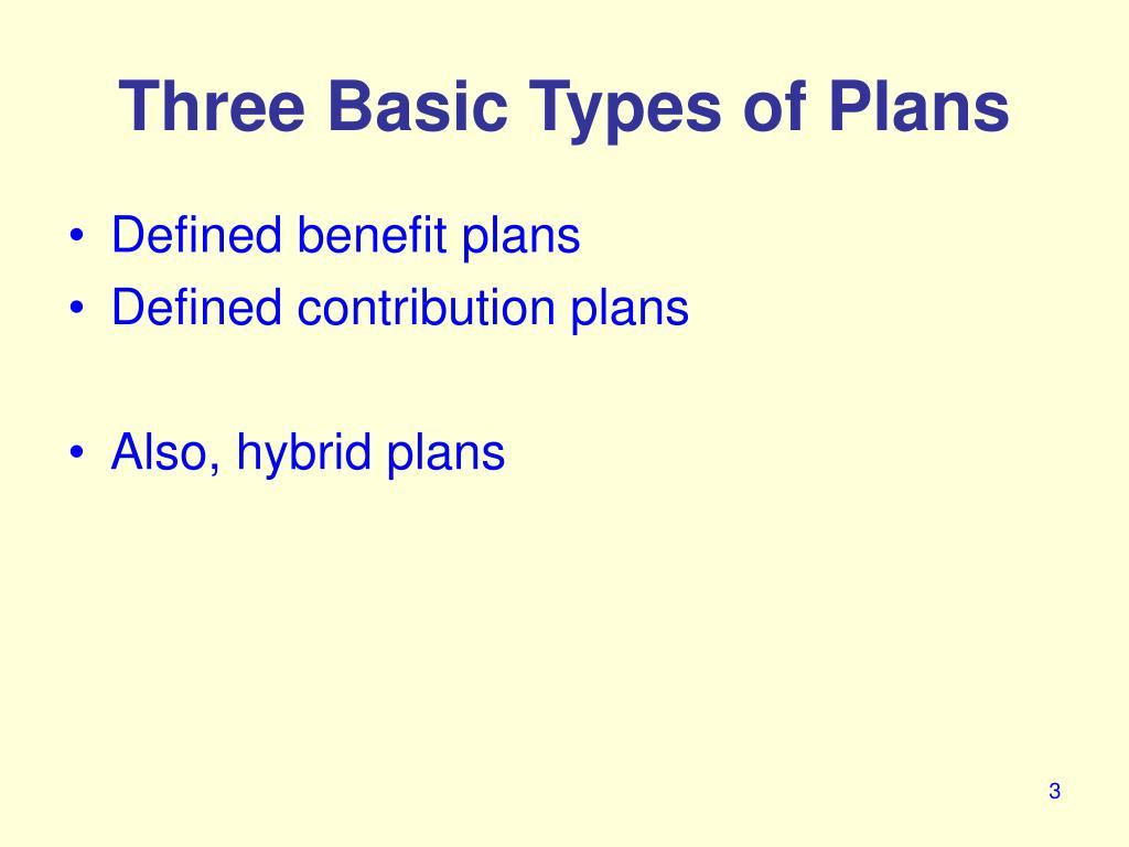 Three Basic Types of Plans