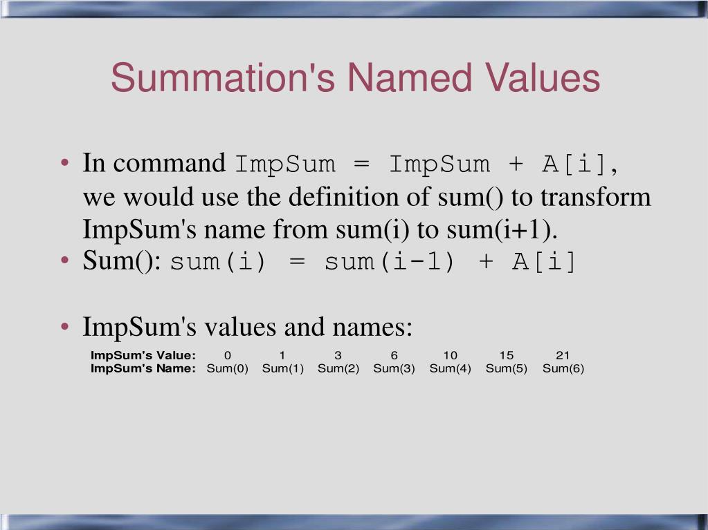 Summation's Named Values