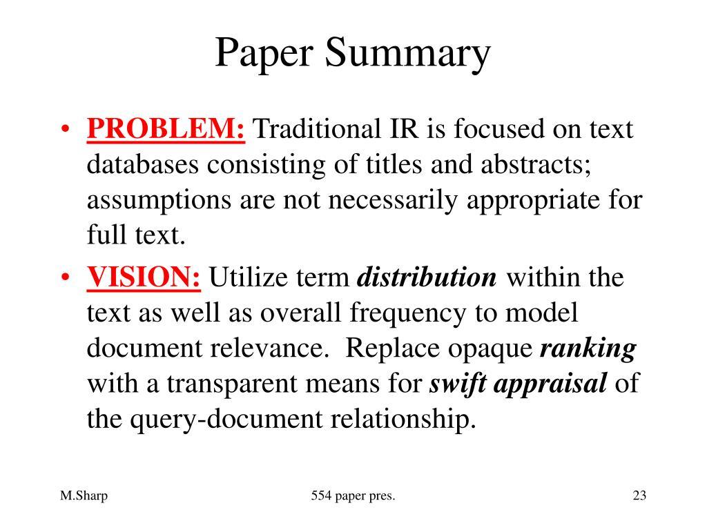 Paper Summary