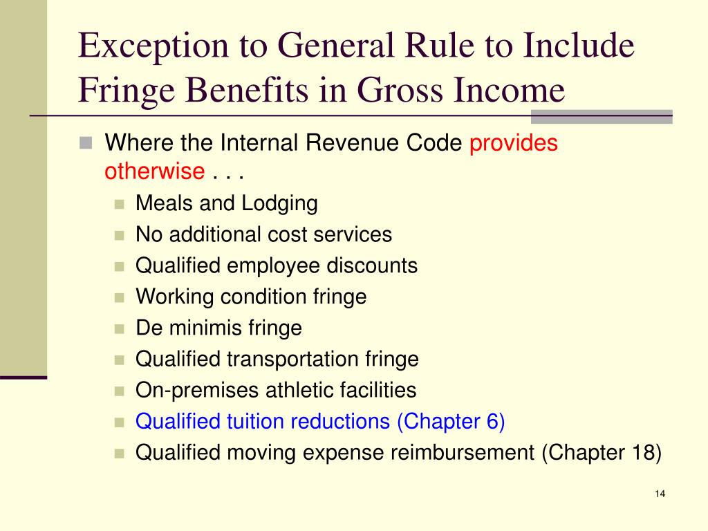 Exception to General Rule to Include Fringe Benefits in Gross Income