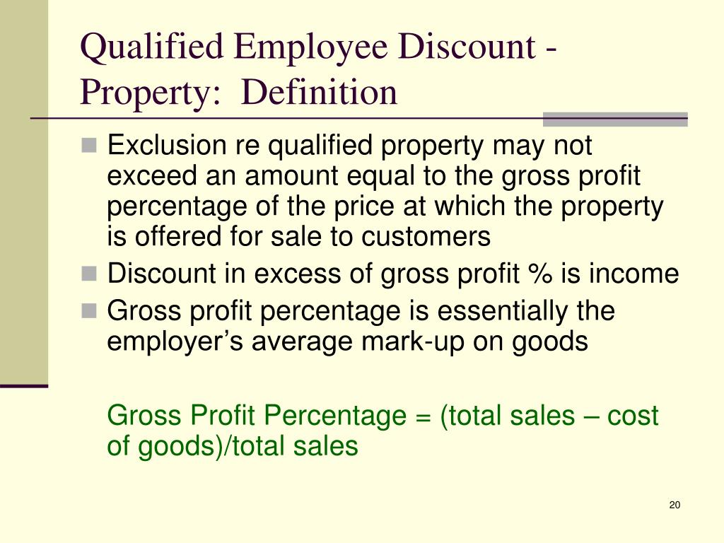 Qualified Employee Discount - Property:  Definition