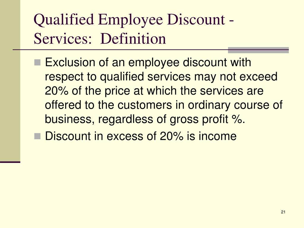 Qualified Employee Discount - Services:  Definition