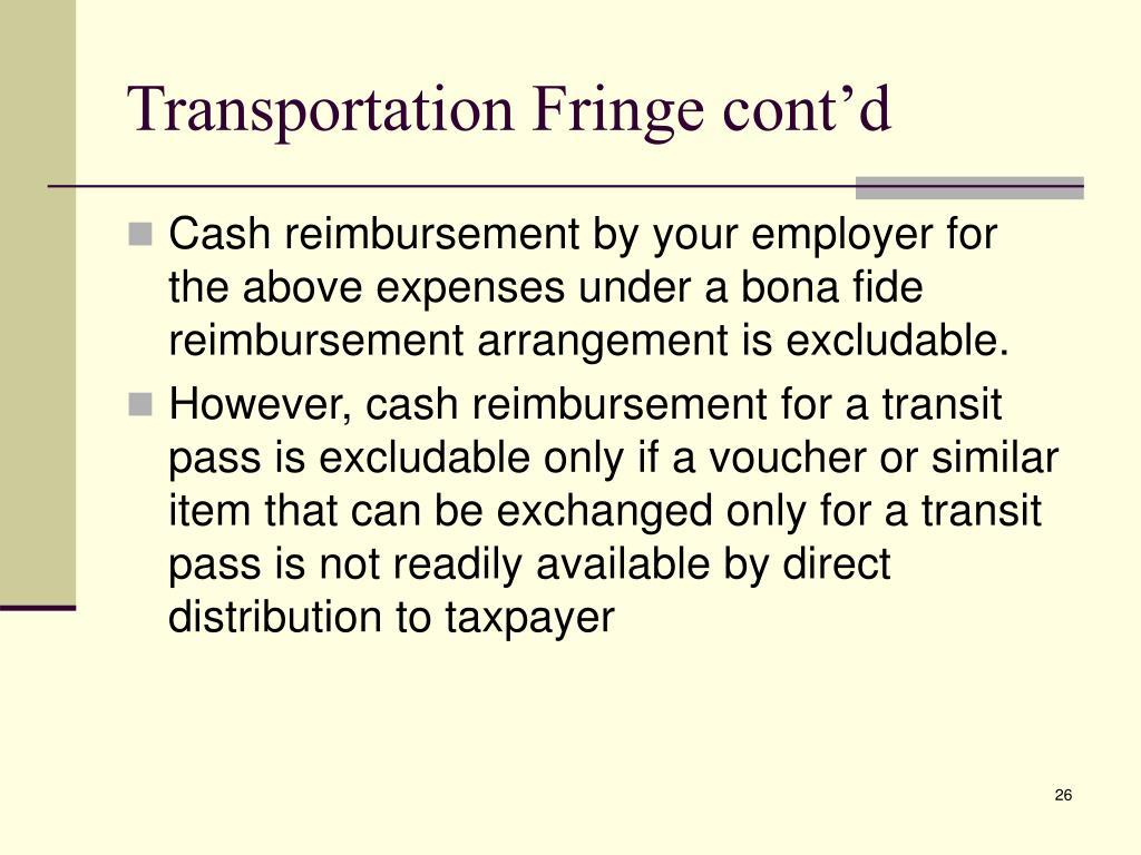 Transportation Fringe cont'd