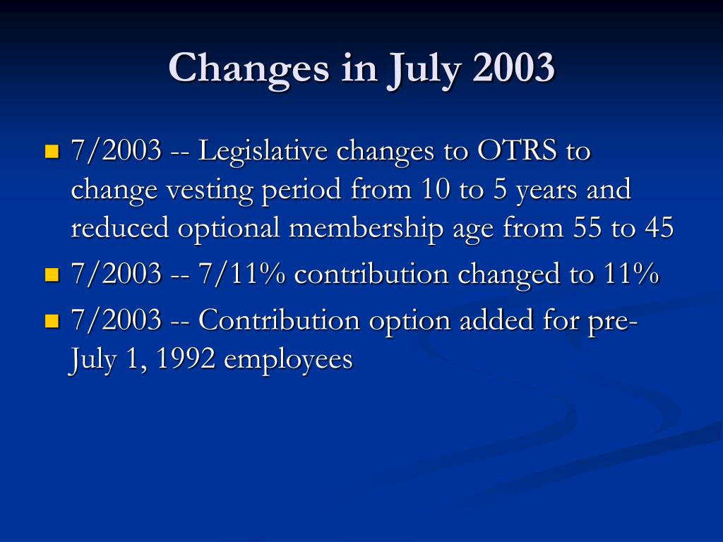 Changes in July 2003