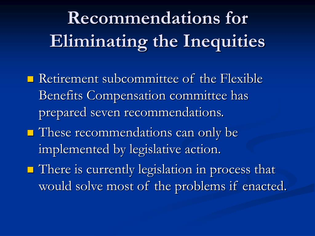 Recommendations for Eliminating the Inequities
