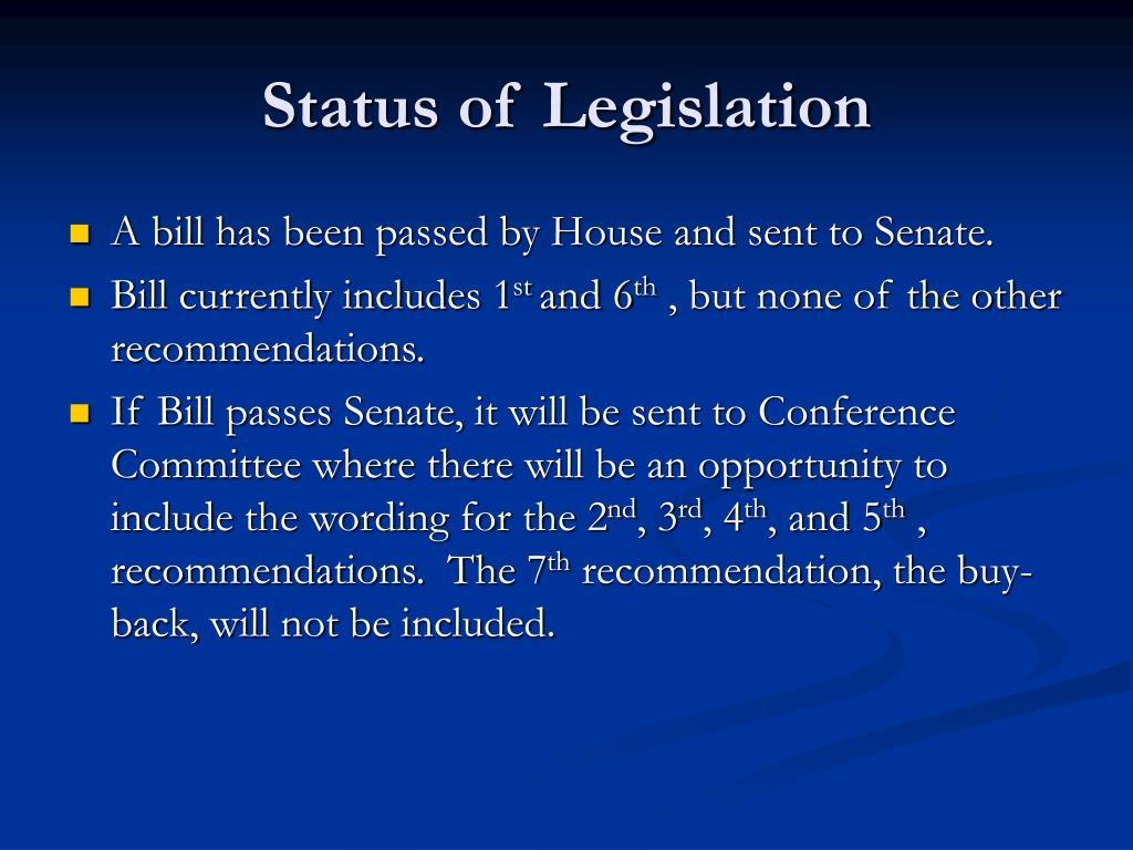 Status of Legislation