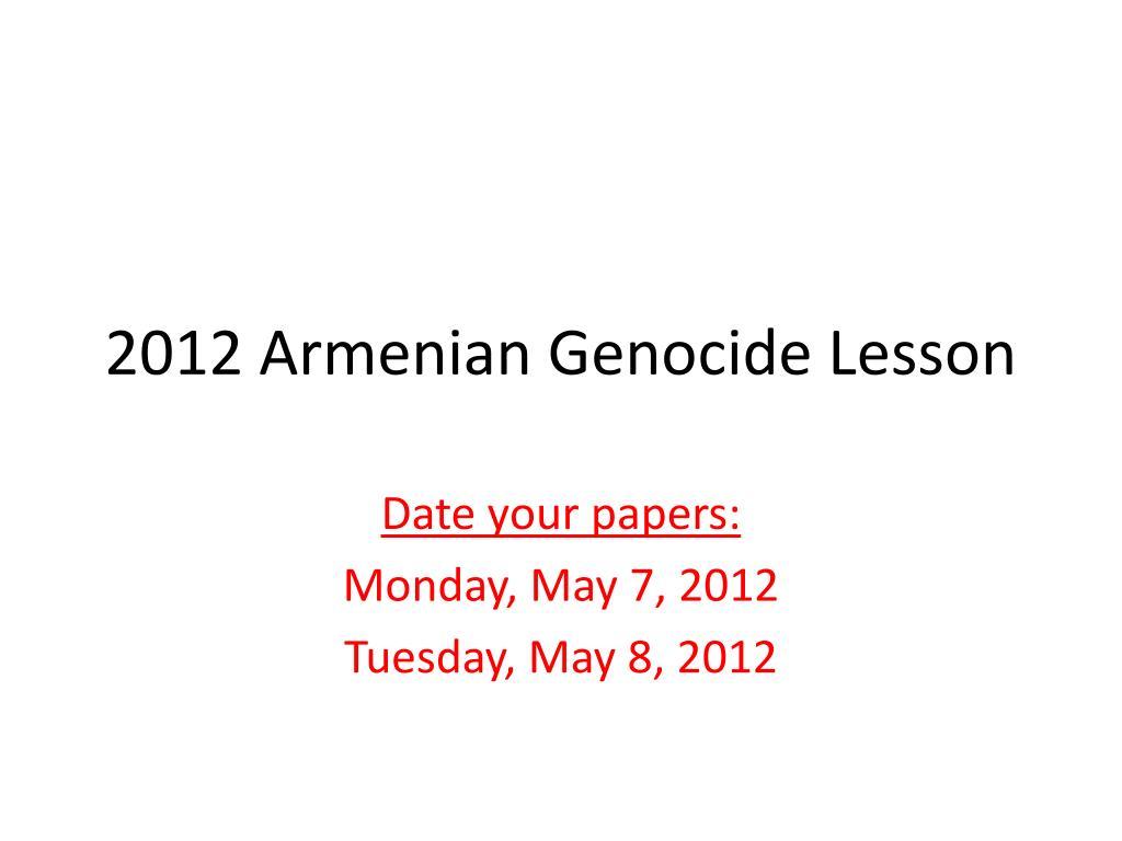2012 Armenian Genocide Lesson