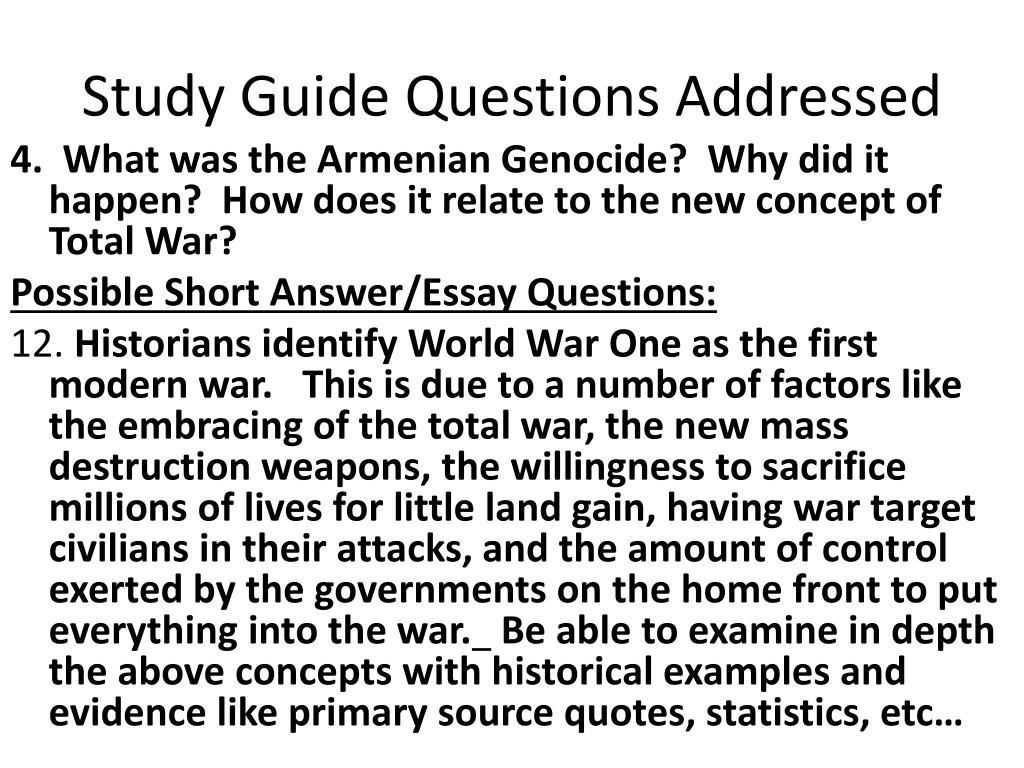 Study Guide Questions Addressed