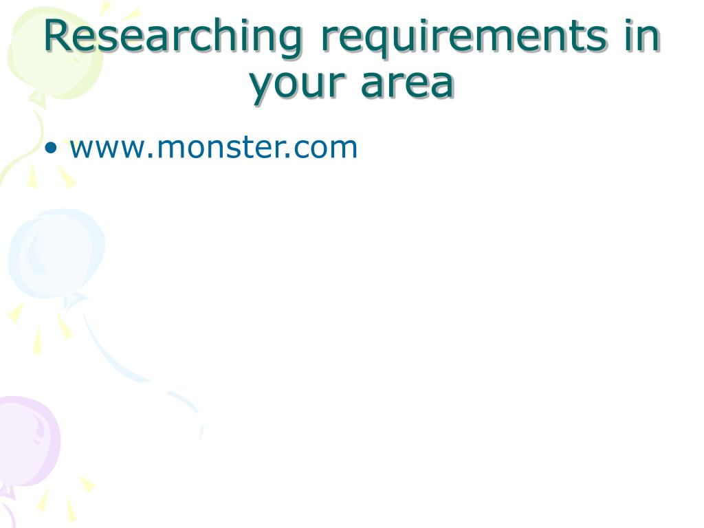 Researching requirements in your area