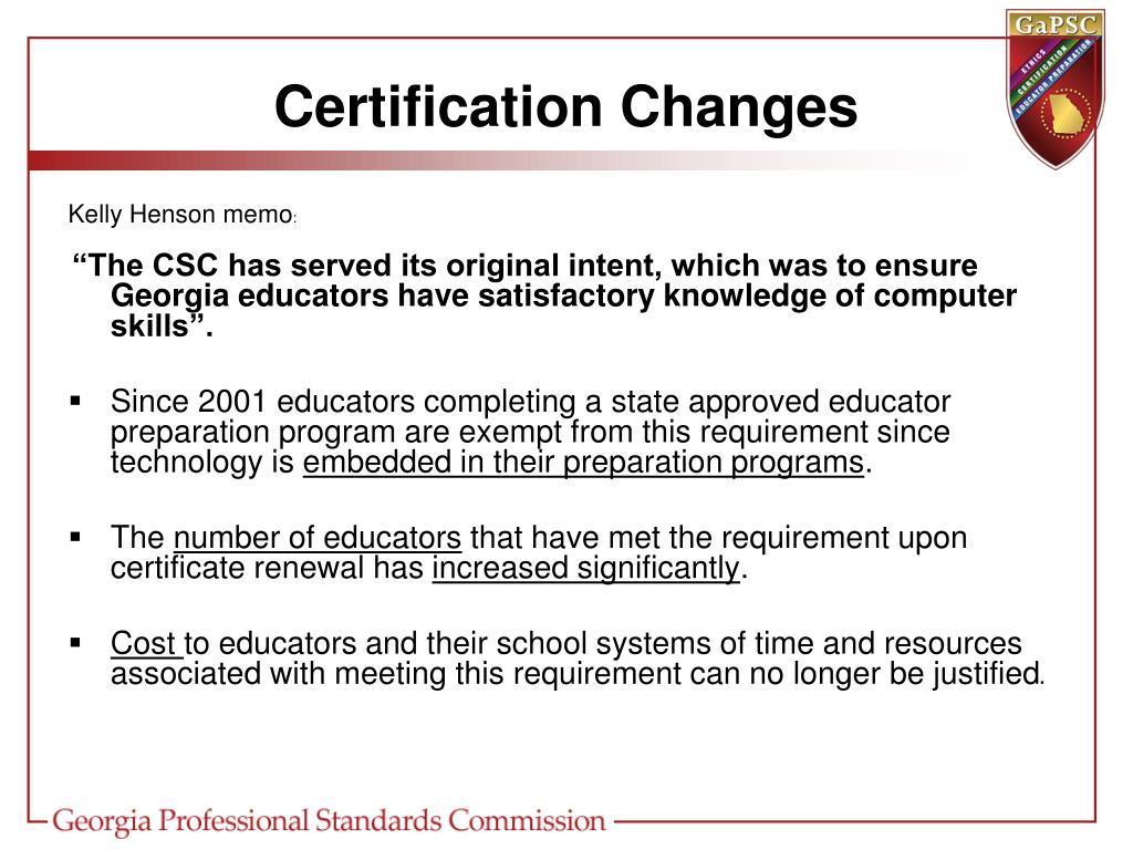 Certification Changes