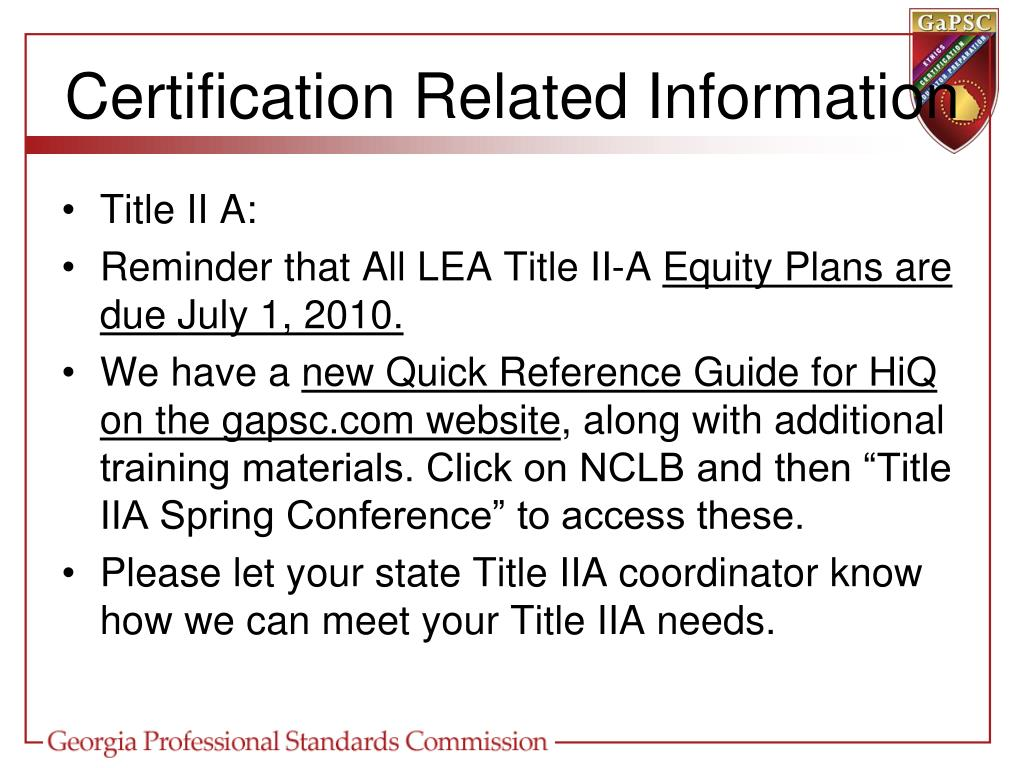 Certification Related Information