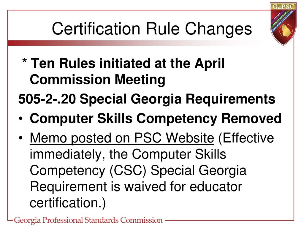 Certification Rule Changes