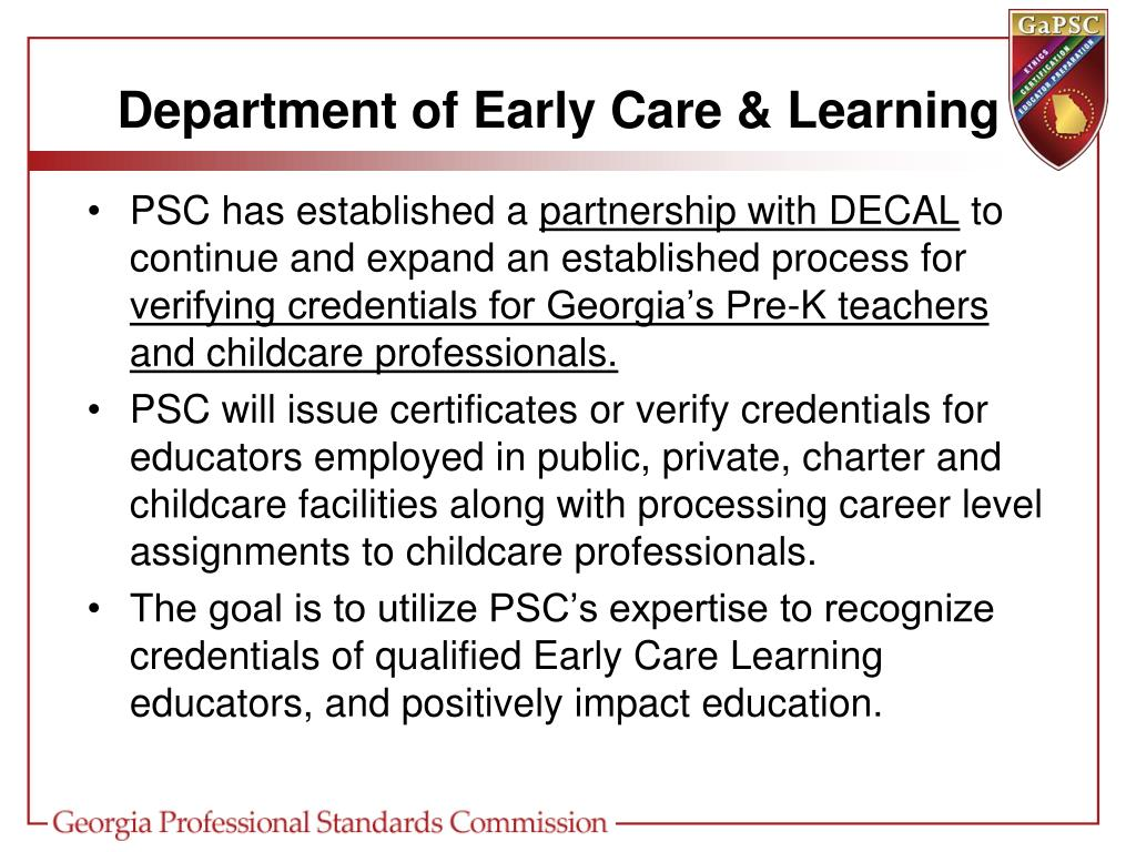 Department of Early Care & Learning