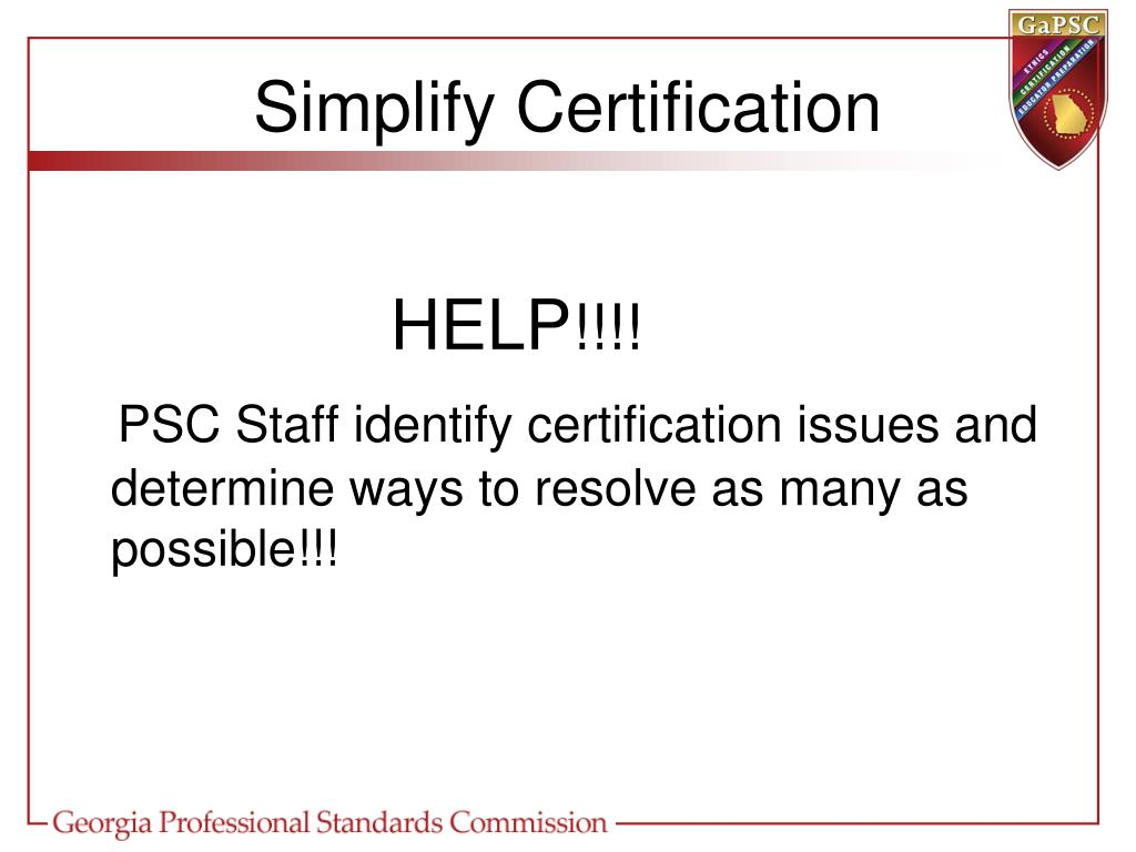 Simplify Certification