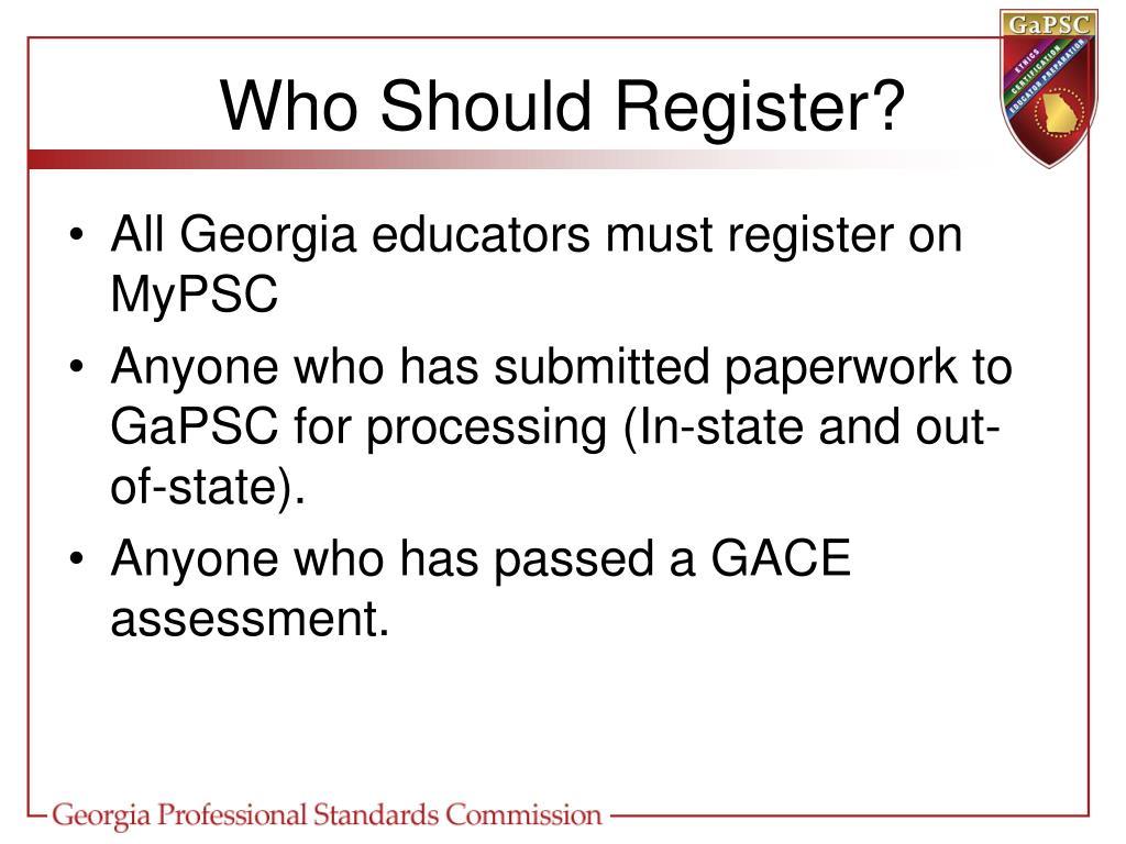 Who Should Register?