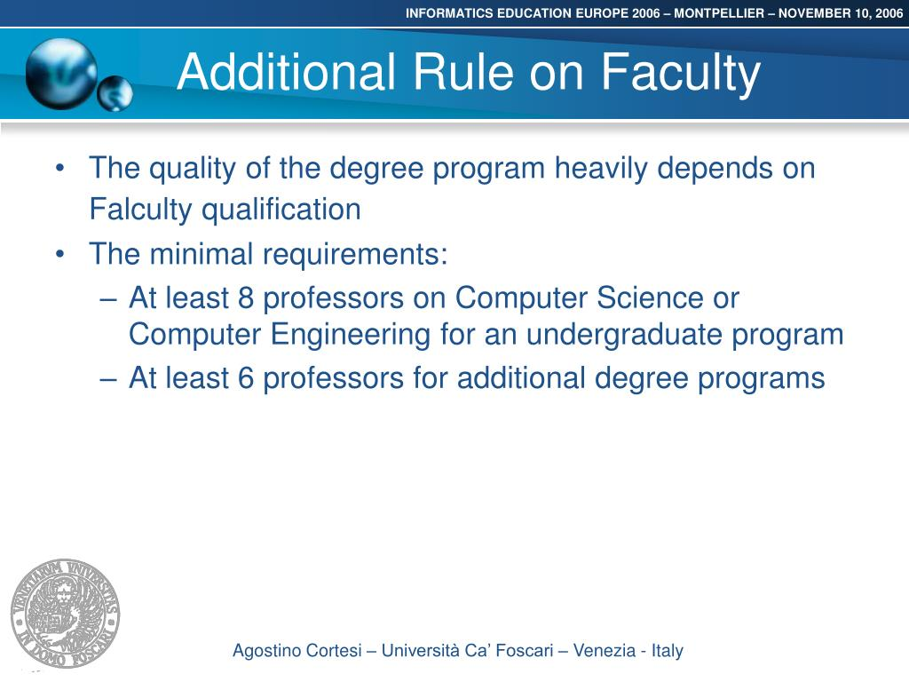 Additional Rule on Faculty