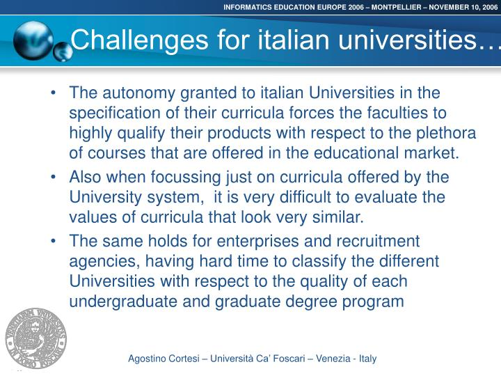 Challenges for italian universities
