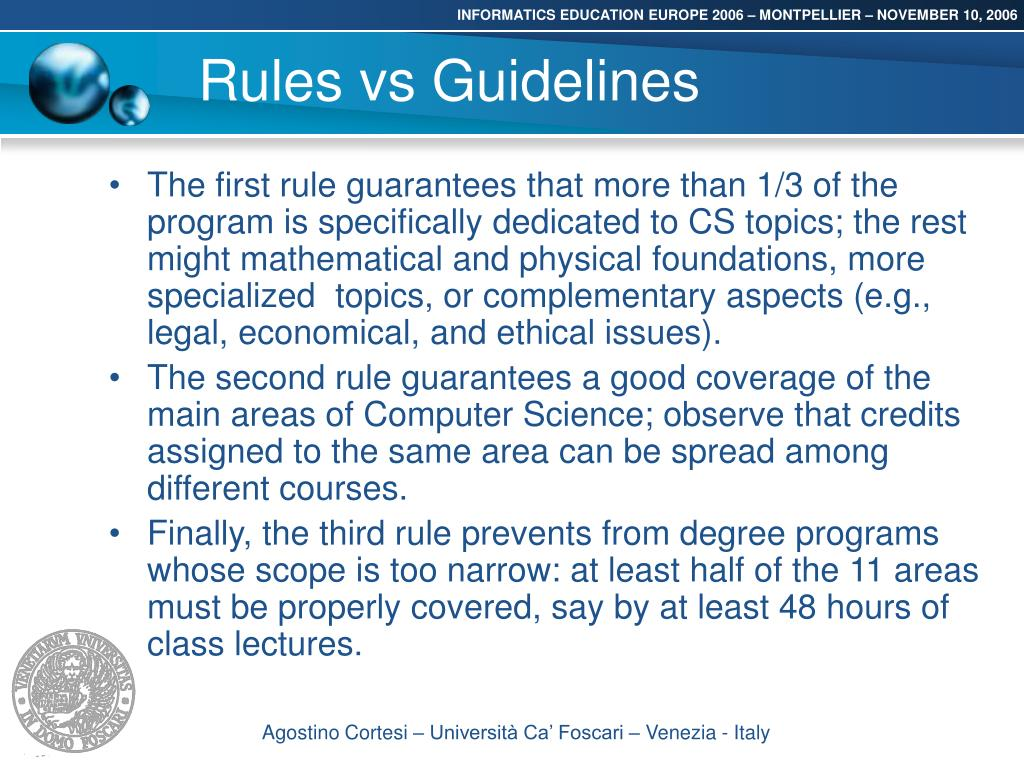 Rules vs Guidelines