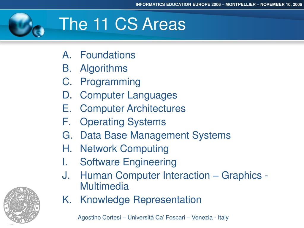 The 11 CS Areas