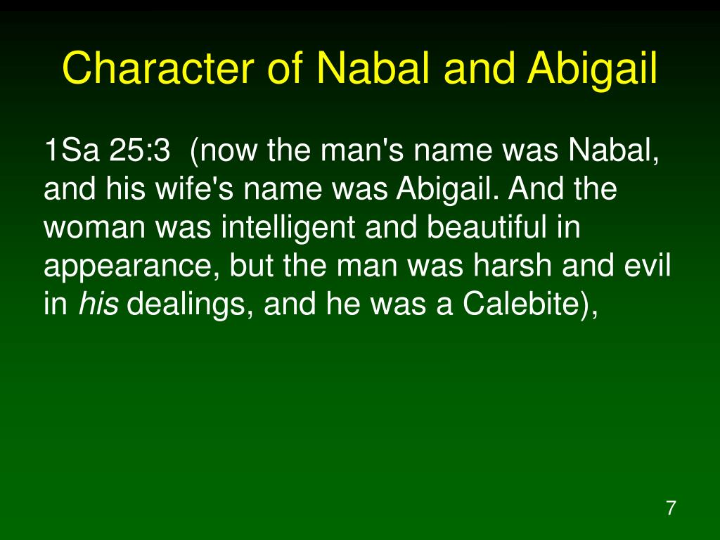 Character of Nabal and Abigail