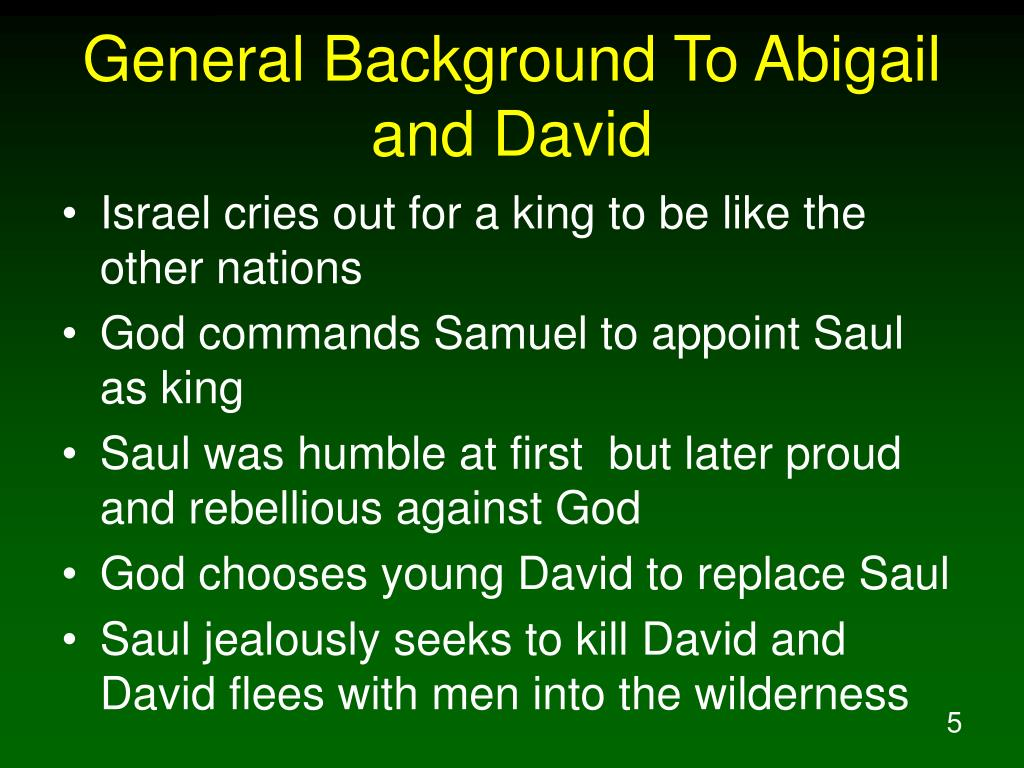 General Background To Abigail and David