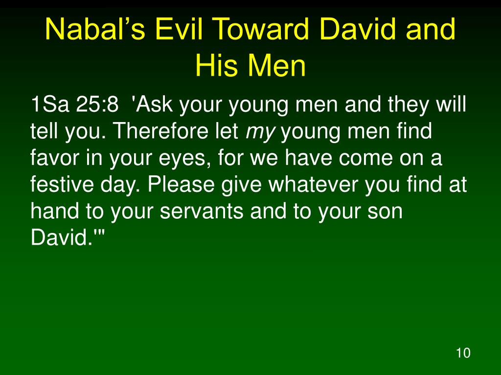 Nabal's Evil Toward David and His Men