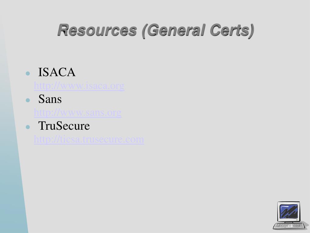 Resources (General Certs)