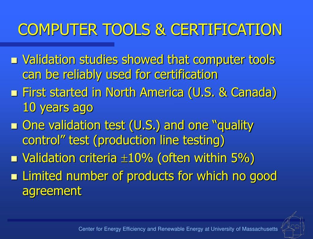 COMPUTER TOOLS & CERTIFICATION
