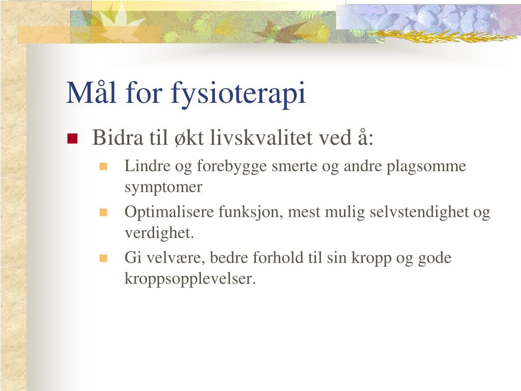 Mål for fysioterapi