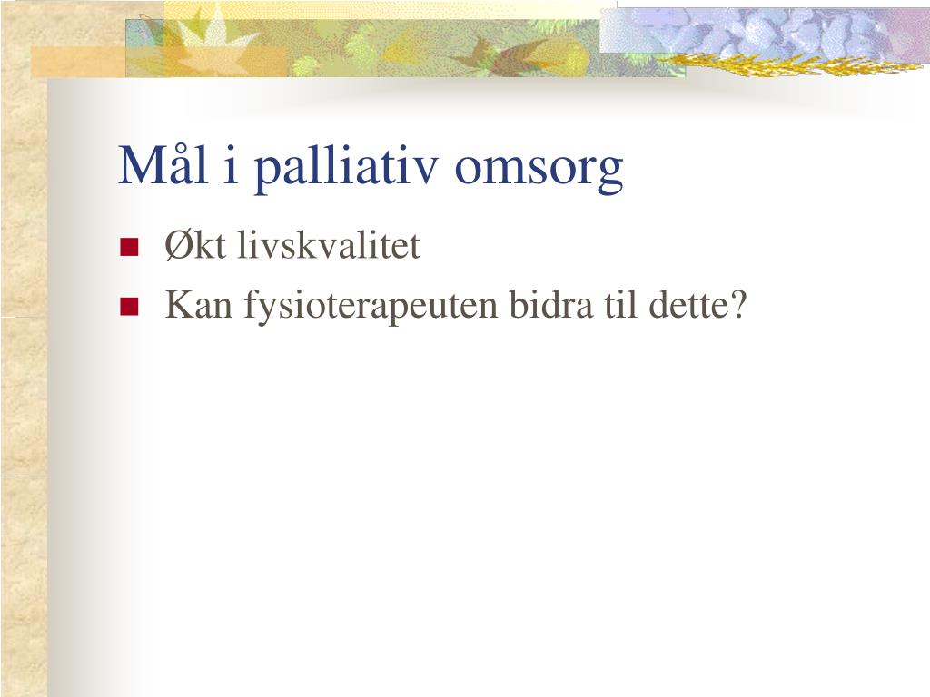 Mål i palliativ omsorg