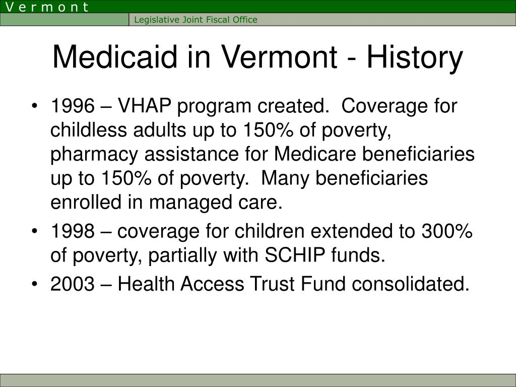 Medicaid in Vermont - History