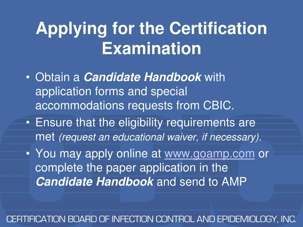 Applying for the Certification Examination