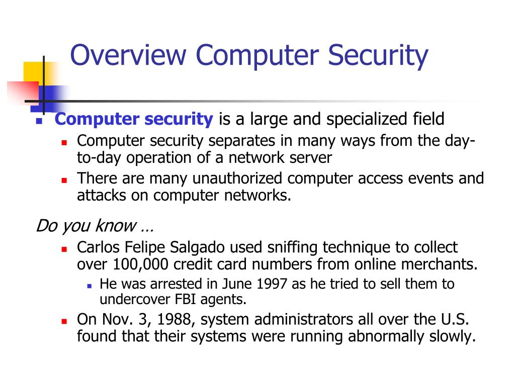 Overview Computer Security