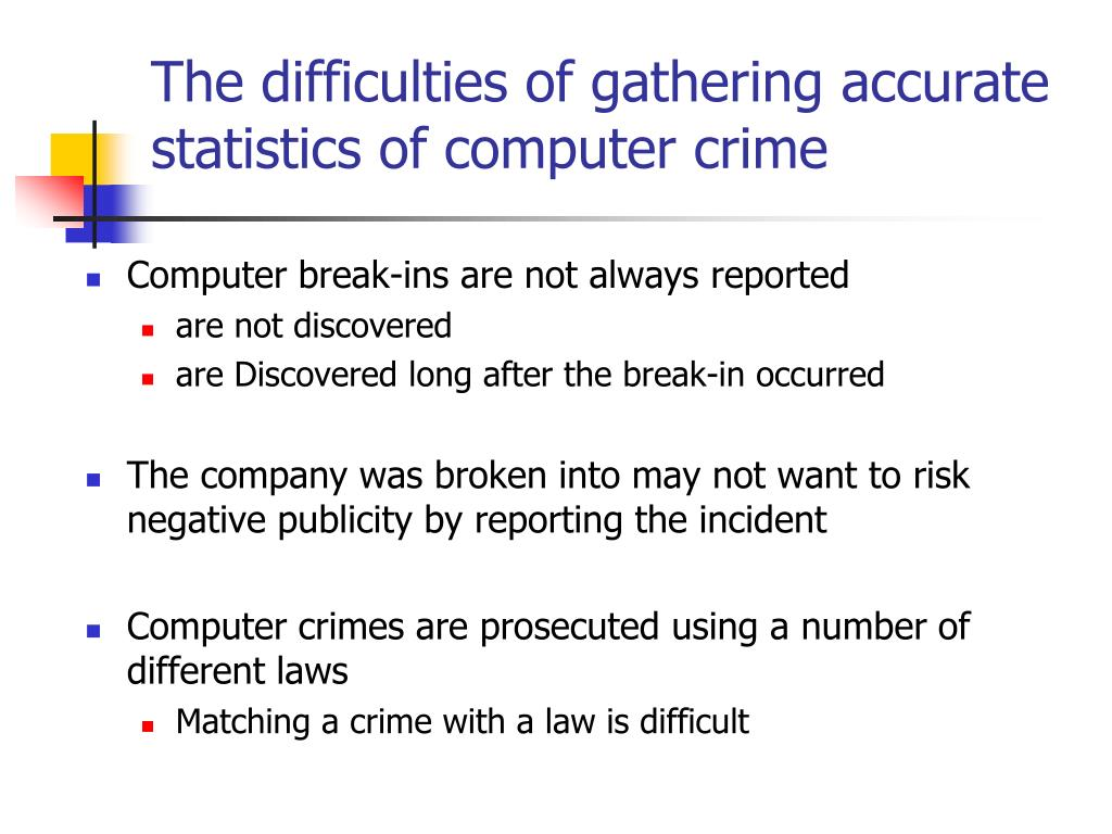 The difficulties of gathering accurate statistics of computer crime