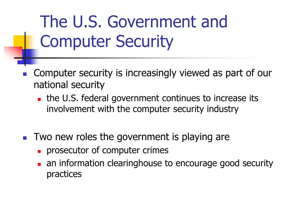 The U.S. Government and Computer Security