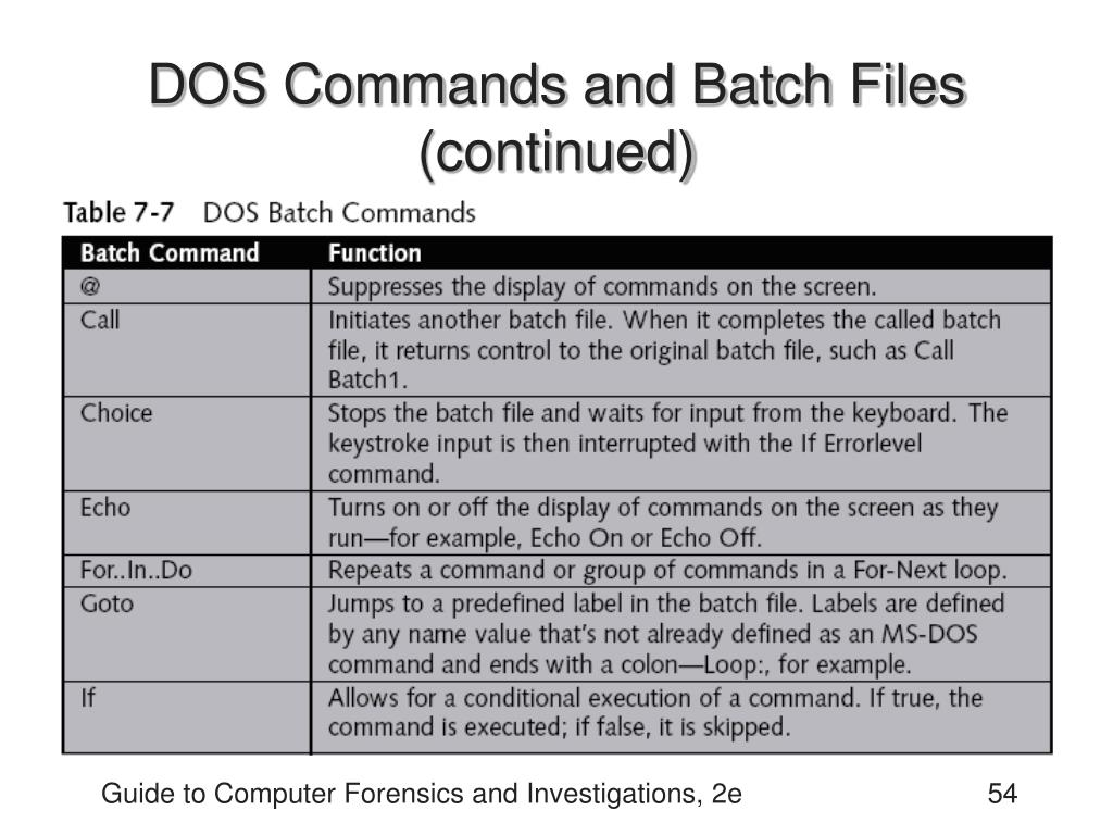 DOS Commands and Batch Files (continued)