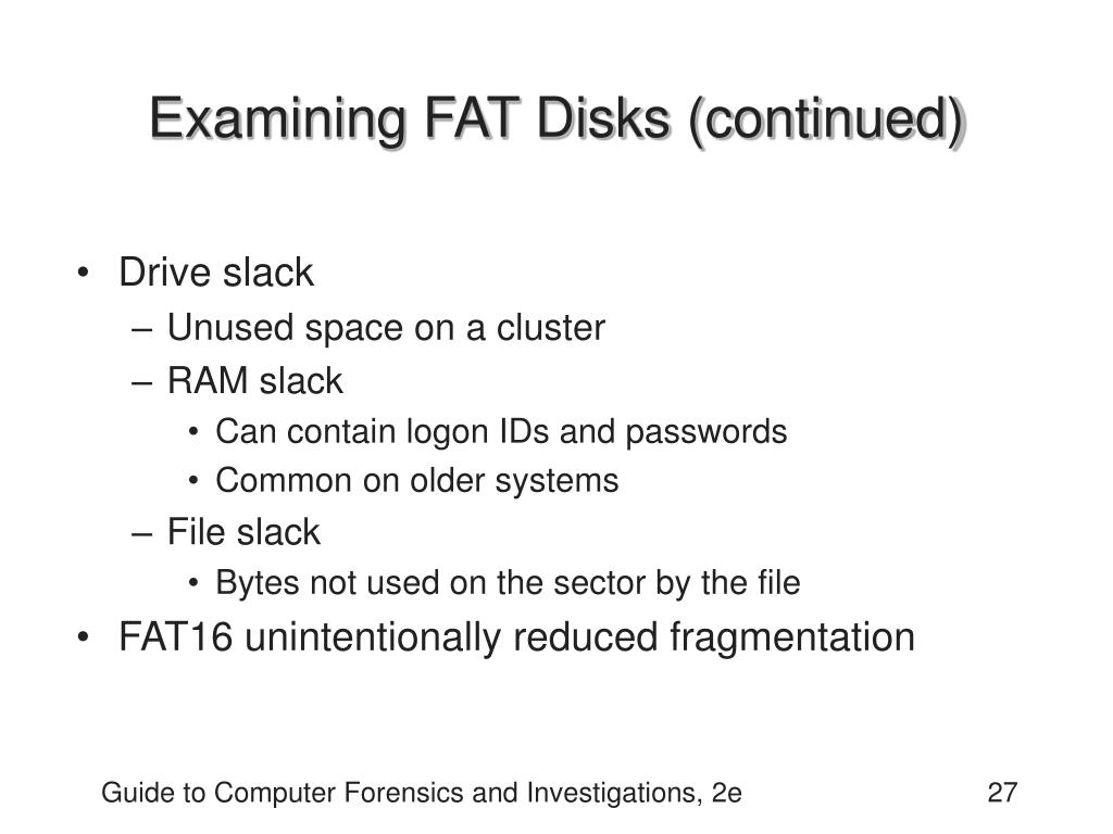 Examining FAT Disks (continued)