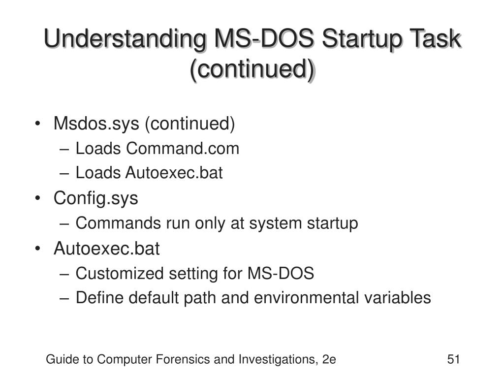 Understanding MS-DOS Startup Task (continued)