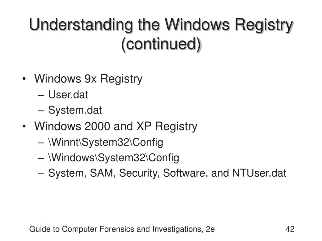 Understanding the Windows Registry (continued)