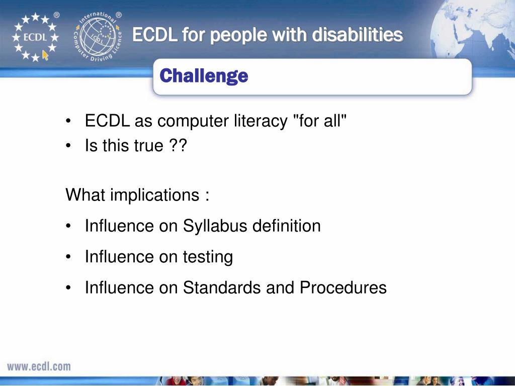 ECDL for people with disabilities